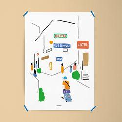 떠나고 싶다4 여행 M 유니크 디자인 포스터 A3(중형)