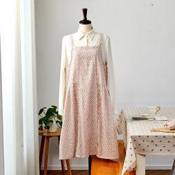 L 여리여리한 잔꽃 원피스 앞치마 핑크