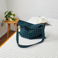 L 빈티지코튼 그린체크 크로스 가방