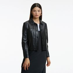 LAMBSKIN CROP POCKET JACKET BLACK