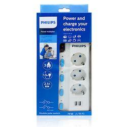 (필립스 멀티탭 정품)(USB개별 멀티탭 3구1.5M)LED램프 절전형
