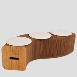 접이식 크라프트지 아코디언 의자+방석 3개 포함