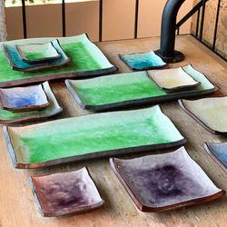 일본 도자기 그릇 400주년 일식 초밥 스시 회 사각 접시 SET