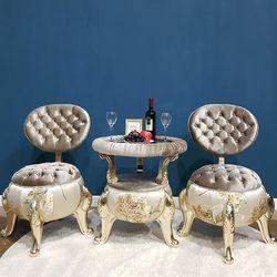 엔틱가구 럭셔리 골드 의자 테이블 러브체어세트