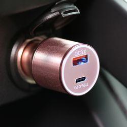 단순생활 퀄컴 차량용 고속 충전기 PD 로즈골드