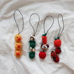 뜨개 동물 과일 백참 키링 (4color)