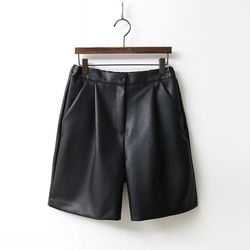 Faux Leather Pintuck Shorts