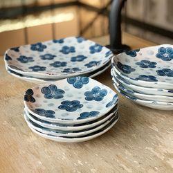 일본 도자기 그릇 400주년 땡땡이 빅 플라워 소 중 대 접시 SET
