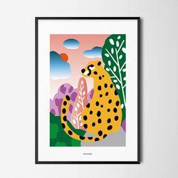 숲속의 가장 큰 고양이 M 유니크 디자인 포스터 A3(중형)