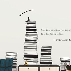 쌓여있는 책들 위의 소녀 명언 카페분위기 인테리어 스티커