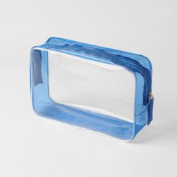 썸머데이 사각 투명 파우치(블루) (L)