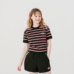 츄아츄 와펜 스트라이프 링거 크롭 티셔츠(2컬러)