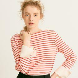 Stripe Cuffs T Scarlet