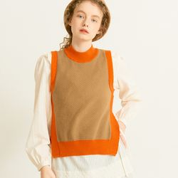 Color Block Knit Vest Camel