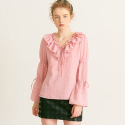 V-neck Ruffle Blouse Pink