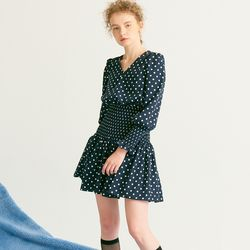 Smocking Point Dress Navy