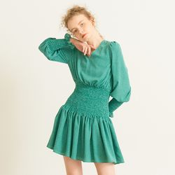 Smocking Point Dress Green