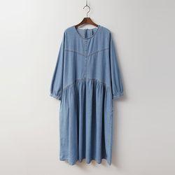 Autumn Denim Puff Long Dress