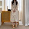 Mock Neck Puff Long Dress