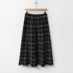 Wool Tweed Check Knit Skirt