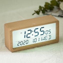 우드 터치라이트 LCD 무소음 알람탁상시계