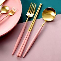 6pcs 1set 핑크 양식기 커틀러리 풀 세트
