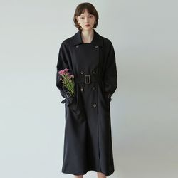 DOUBLE PLASH TRENCH COAT [BLACK]