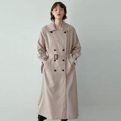 DOUBLE PLASH TRENCH COAT [LIGHT GRAY]