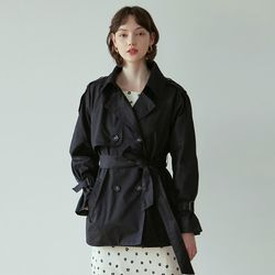 BELT SHORT TRENCH COAT [BLACK]