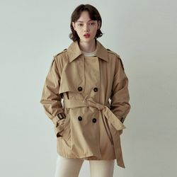 BELT SHORT TRENCH COAT [BEIGE]