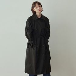 CLASSY DOUBLE TRENCH COAT [BLACK]