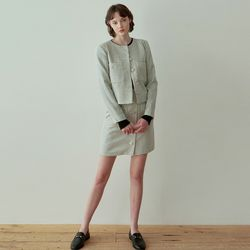 TWEED SINGLE JACKET+SKIRT SET [IVORY]