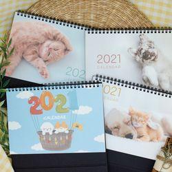 [1+1] 2021 강아지 고양이 일러스트 탁상 벽걸이 달력