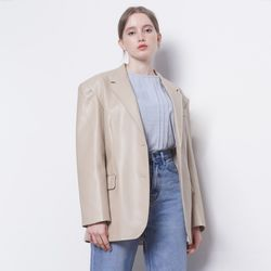W12 basic leather jacket beige