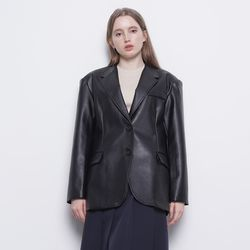 W12 basic leather jacket black