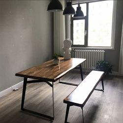 우드슬랩 고재 원목 테이블 의자세트
