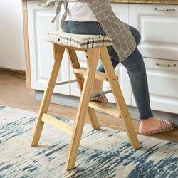 원목 접이식 사다리 의자 설거지의자