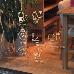 일러스트 카페 벽 유리 스티커