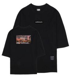 나이트뷰 프라하 7부 티셔츠 블랙