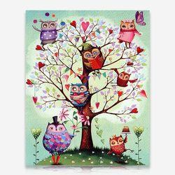 부엉이 나무 DIY 보석십자수 십자수 비즈세트