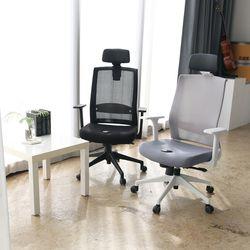 웰C 그레이 건강 사무실 컴퓨터 메쉬 의자