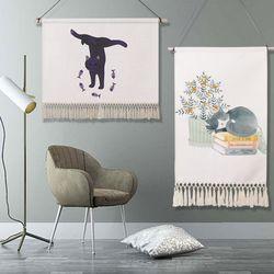 벽장식 모던캣 패브릭 포스터