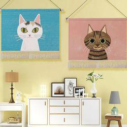 데코 고양이 일러스트 패브릭 포스터