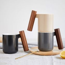 엔틱 원목 손잡이 도자기 컵