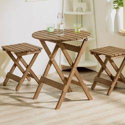 인테리어 접이식 베란다테이블 목재 의자