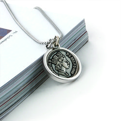 SVN-157 AntiqueSilver Coin Round Necklace