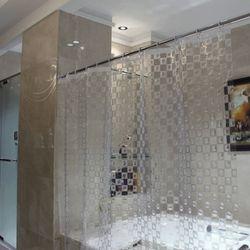 모자이크 안티곰팡이 투명 샤워 커튼
