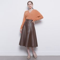W19 leather A skirt brwon