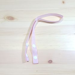 큐티리본 마스크 스트랩-분홍체크