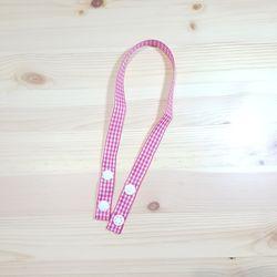 큐티리본 마스크 스트랩-꽃분홍체크